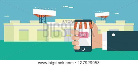 Flat design concept for e-shopping. Vector illustration