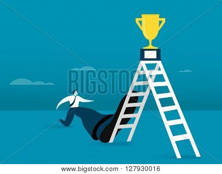 Vector illustration of businessman aiming for success
