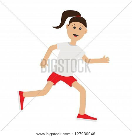 Funny cartoon running girl Cute run woman Jogging lady Runner Fitness workout running female character Isolated White background. Flat design Vector illustration