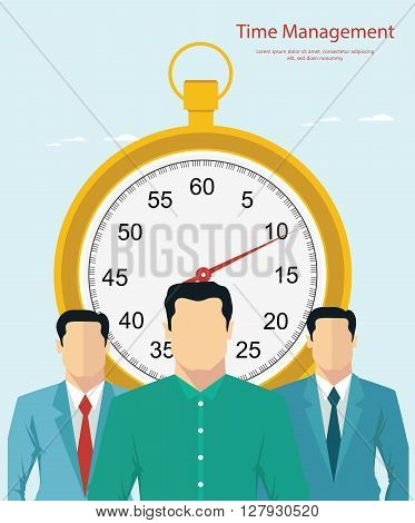 Vector illustration of ime management concept with stopwatch