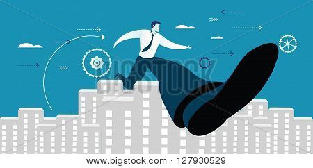 Vector illustration of businessman successful in overcoming obstacle