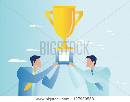 Vector illustration of triumph in business. Businessmen holding trophy