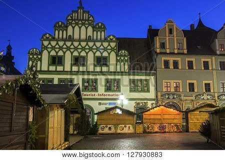 WEIMAR, THURINGIA, GERMANY - JANUARY 6, 2015: Market Square in Weimar in Germany during Christmas.