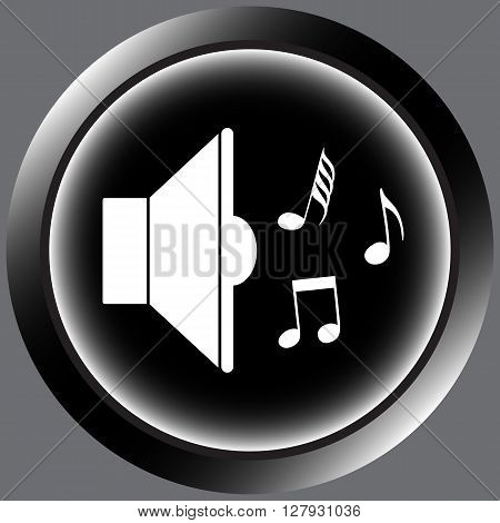 Icon with a loudspeaker sign with notes