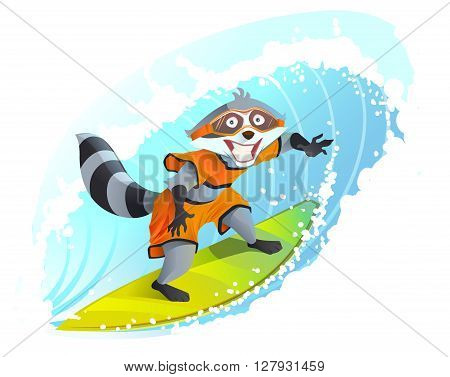 Joyful surfer raccoon. Summer holidays at sea. Animal surfboarder. Cartoon illustration in vector format