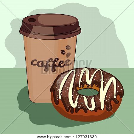 delicious donut, cartoon, cup of coffee dessert, cup, chocolate, couple, character, funny, mug, delicious, joy, icon, bakery, design