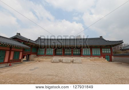 SEOUL SOUTH KOREA - MARCH 14 2016: Jipgyeongdang Hall (circa 19th c.) of Gyeongbokgung Palace in Seoul Korea. Served as a reception hall for foreign envoys
