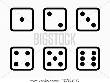 Vector black line dice cubes icons set on white background