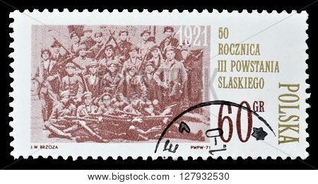 POLAND - CIRCA 1971 : Cancelled postage stamp printed by Poland, that shows Silesian Insurectionists.