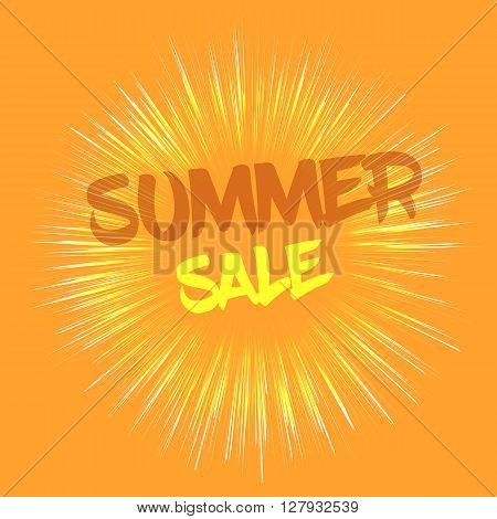 Vector Summer sale concept with fireworks effect. Summer sale template in retro style on orange background. Nice Summer sale card template for various use.