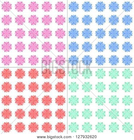 Fully vector set of seamless patterns with flowers (blooms). Flowers symbols are in transparent style. Paterns in various colors. Template for various use. especially for endless background.