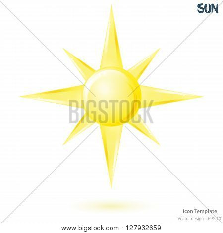 Fully vector sun icon template. Glossy yellow sun object. Sun icon with yellow shadow. Sun icon for various use.