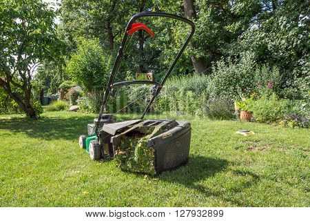 Green and black lawn mower in the garden