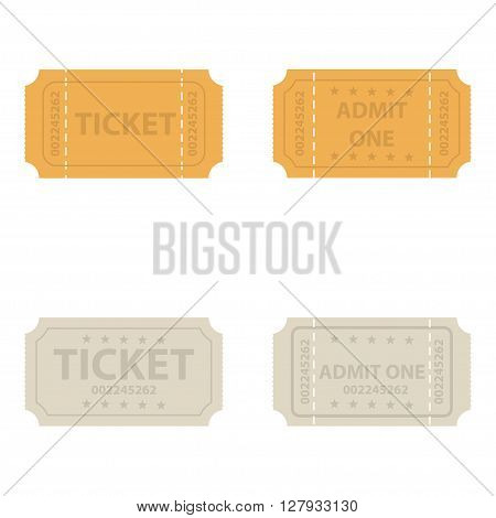 Vector vintage cinema tickets on white background. Admission ticket