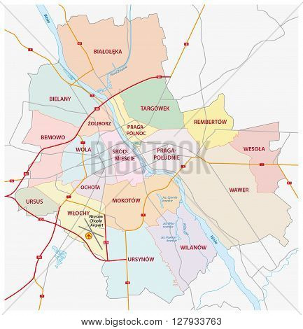 administrative and road map of capital poland, warsaw