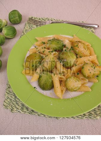 Homemade pasta with brussels sprout from pan