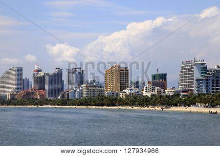 Hainan China - April 4 2012: The coast of Sanya on Hainan Island China