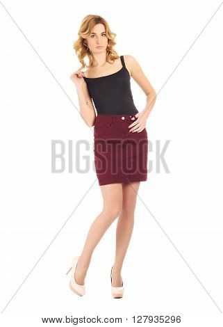 Full-length portrait young woman in skirt set