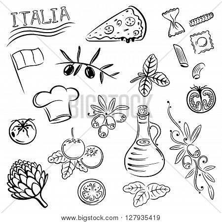 Gastronomy and cooking vector set, Italian food.