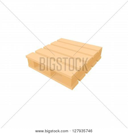Wooden palette icon in cartoon style on a white background