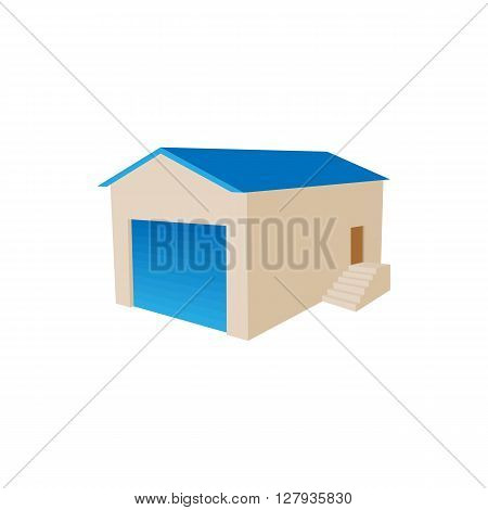 Warehouse building icon in cartoon style on a white background