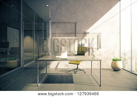 Workplace in office with wooden floor concrete wall glass doors and windows with city view. 3D Rendering