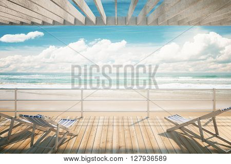 Chaise longues under awning at the seaside. 3D Rendering