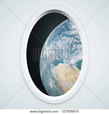 Light spaceship window with earth view.  3D Rendering