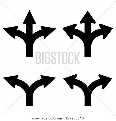 Two and three way arrows set isolated on white background