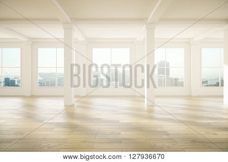 Spacious empty interior design with columns wooden floor and windows with city view. 3D Rendering
