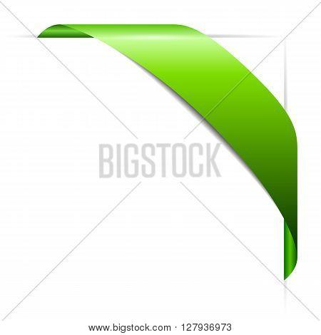 Bent corner ribbon isolated on white background