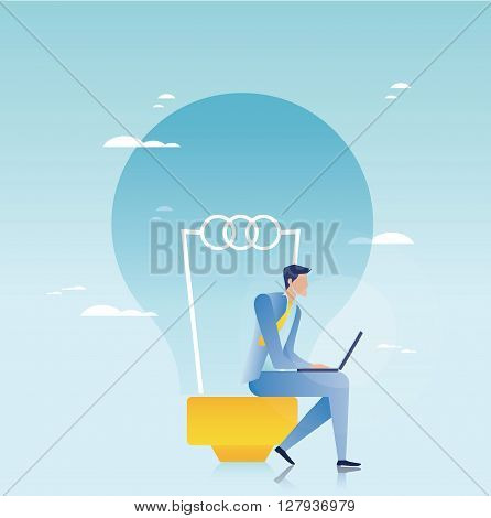 Creative business concept. Businessman working on laptop