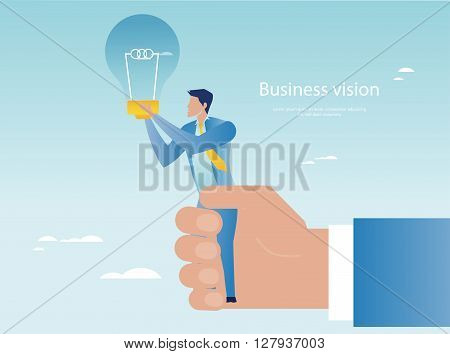 Creative business concept. Businessman holding light bulb