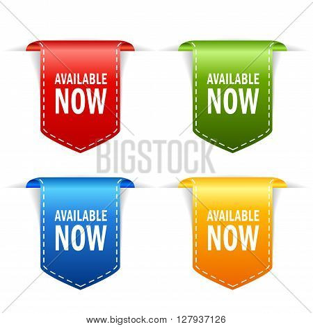 Available now icons isolated on white background