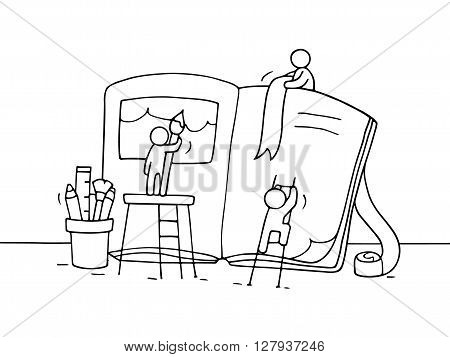 Sketch of working little people with book. Doodle cute miniature teamwork about book creation. Hand drawn cartoon vector illustration.