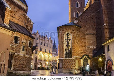 View on Cracow in Poland in the evening