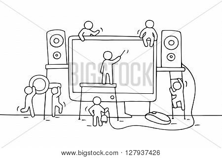 Sketch of working little people with computer. Doodle cute miniature teamwork with loudspeakers computer mouse. Hand drawn cartoon vector illustration for business design.