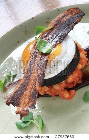Bacon Egg Black Pudding Baked Beans Plated Meal