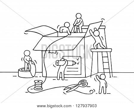 Sketch of working little people with package. Doodle cute miniature of teamwork and post. Hand drawn cartoon vector illustration for business design and infographic.