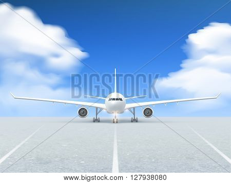 White plane prepares to take off from the runway poster at a realistic blue background and pavement vector 3d illustration