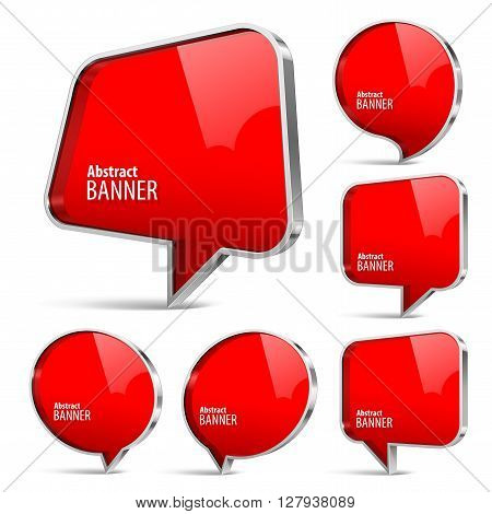 Shiny gloss red banner. Set on a white background. Vector illustration.