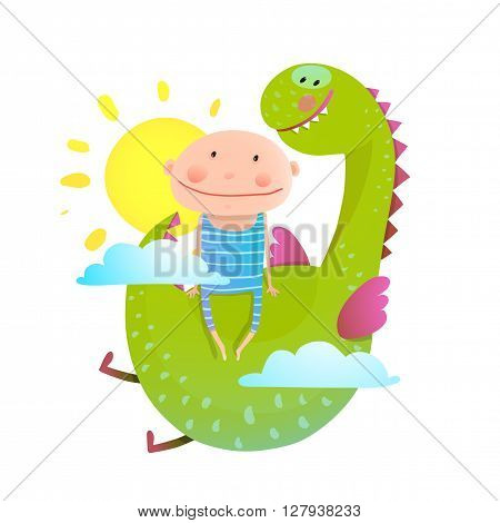 Baby and dragon friendship. Animal funny monster, young kid cheerful, vector illustration.