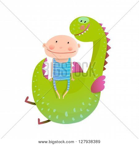 Baby and dragon. Animal cute monster, small kid cheerful, vector illustration.
