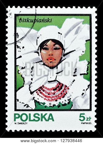 POLAND - CIRCA 1983 : Cancelled postage stamp printed by Poland, that shows woman in traditional costume.