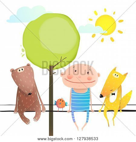 Child kid and fox, bear colourful friendship brightly colored cartoon, nature sun and clouds. Vector illustration
