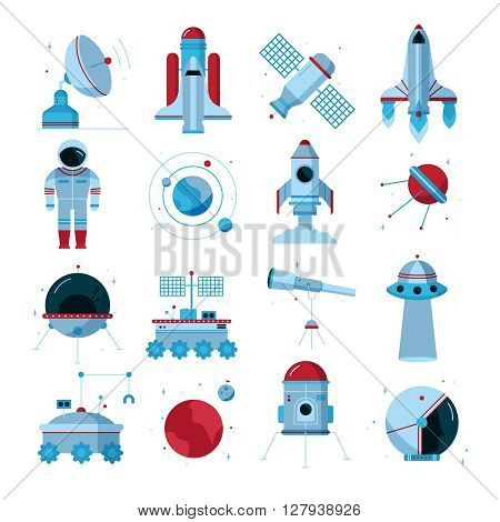 Space flat icons set with spacecrafts  instruments moon crawler and  telescopes white background poster abstract vector illustration