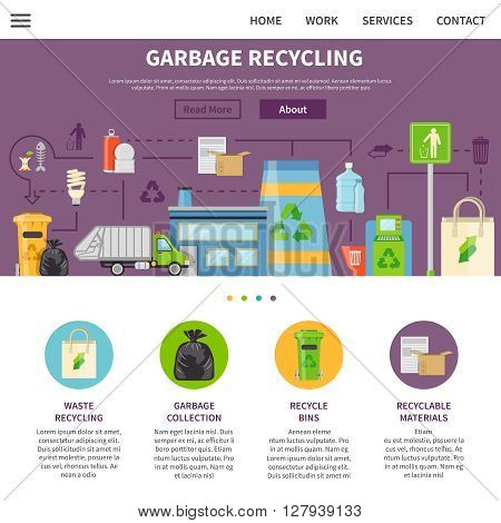 Garbage Recycling Symbols.Garbage Recycling  Presentation.  Recycling Flat Elements.Garbage Recycling Website.Recycling Vector Illustration. Garbage Recycling Page. Garbage Recycling Design.