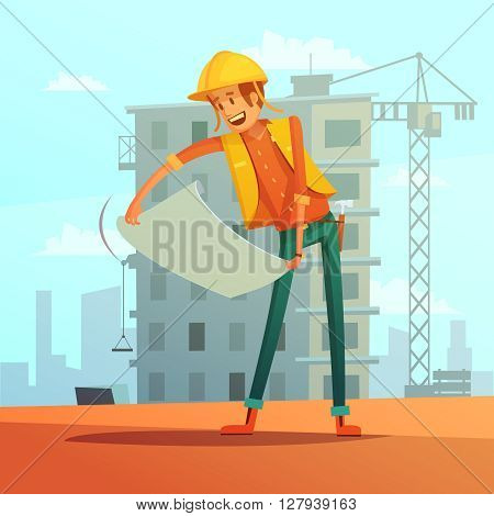 Builder and building plan cartoon background with house and crane vector illustration