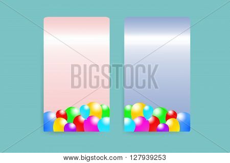Two pink and blue paper vertically rectangles with the decor of the baloons. All is on the trendy green background.