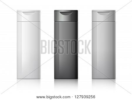 set of cosmetic products on a white background. Cosmetic package collection for shampoo in white black and gray colors. vector illustration.